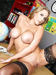 Hot teacher Alanah Ra stripping boobs and posing in stockings