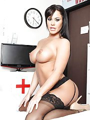 Hot wife Savannah Stern stripping off doctor uniform and posing nude