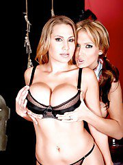 Busty hotties in stockings Nikki Sexx and Alanah Rae stripping nude