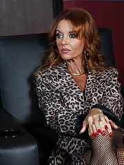Hot MILF in sexy lingerie and stockings Janet Mason fucked in office