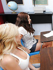 Sexy teacher in glasses Gia Dimarco stripped and fucked on her desk
