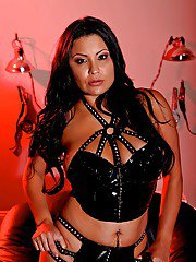 Kinky latin wife Sophia Lomeli posing in fetish lingerie and stockings