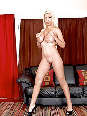 Blonde wife Bridgette B with big tits in lingerie and then naked