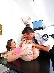 Pretty Bobbi Starr is fucking hardcore in the ass in the office