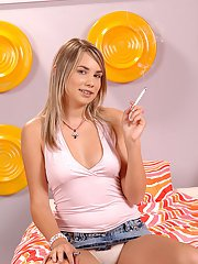 European teen Sugar Baby is caught smoking so shes fucked hard for it