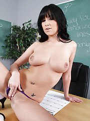 Big titted school girl strips to white socks and poses on the desk