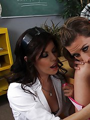 Three lesbian school girls enjoy rough sex with toys and strapons