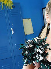 Big titted cheerleader Abbey Brooks gets naked on the floor