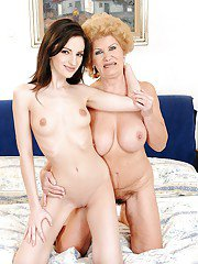 Young and mature lesbians Effie and Ann Marie La Sante play sex games