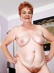 Plump granny with big tits takes off lingerie to expose her body