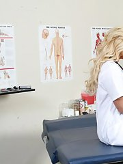 Busty doctor in stockings Shyla Stylez seduces her well hung patient
