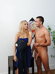 Hot blonde with perfect tits and shaved pussy Samantha Saint fucking