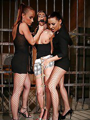 Maria Bellucci and Katy Parker kidnap a babe to humiliate and spank