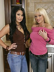 Lesbian MILFs Sophia Lomeli and Brooke Belle shows their big melons