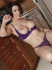 Hot MILF with big boobs Dylan Ryder takes off her sexy purple lingerie