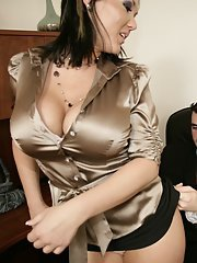 MILF Claire Dames strips to ride a dick right on the office desk