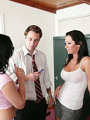 Latina schoolgirl pleases her teacher in 3some while serving her detention