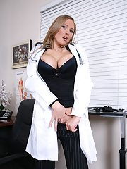 Sexy MILF Abby Rode strips off her uniform to expose her pussy