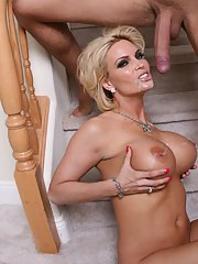 MILF babe with huge tits Diamond Foxxx gets seduced by a big hard cock
