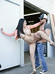 MILF with a big booty Olivia Olovely gets her cunt stretched in public