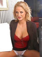 Blond office secretary with comely hooters Brooke Belle banged hard