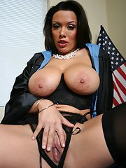 Busty judge Sienna West demonstrates her tits and pussy in her office