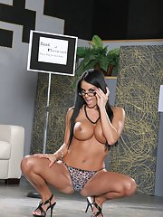 Sexy latina MILF in glasses Mikayla demonstrates her tight curves
