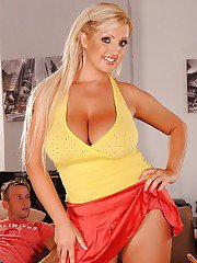 Blond pornstar Chintia Flower got her fat hooters groped by two guys