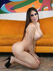 Big titted MILF Sheila Marie strips off pink panties and fishnets