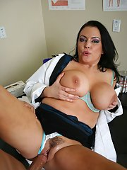 Big titted babe Angelica Sin strips off doctors uniform for fucking