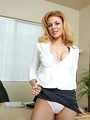 Office whore Gia Marley strips to show her juggs and spread cunt
