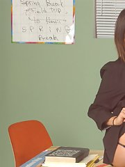 Asian MILF teacher Ava Devine shows her pussy in the class