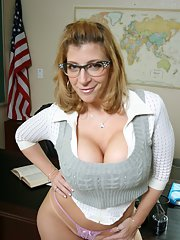 MILF teacher with big breast Sara Jay spreading pussy and showing tits