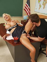 Hot MILF babe with huge boobs Puma Swede fucking a big dick at work
