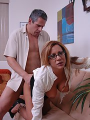 Mature big titted babe Demi Delia gets fingered and fucked