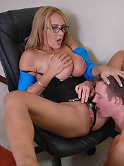 Busty teacher Trina Michaels gives a blowjob and rides a meaty cock