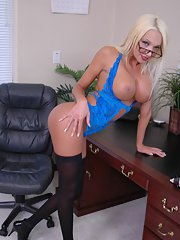 Big titted Latina in glasses Donna Doll shows her spread cunt