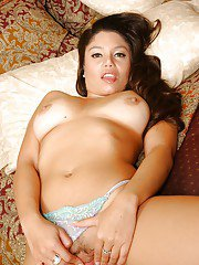 Latina babe with big tits Luccia Reyes spreading and fingering pussy