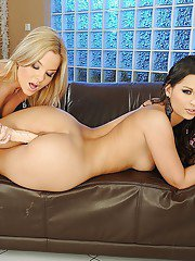 Lesbian hotties Eve Angel and Salome worshipping each other asses