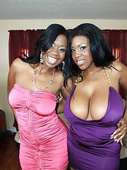 Black MILFs with huge hooters Maserati and Jessica Grabbit pose naked