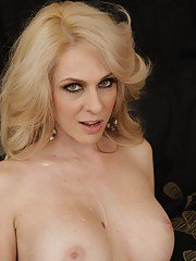 MILF with huge boobs Angela Attison getting a boner in her wet pussy