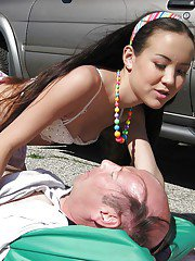 Asian teen babe Amai Liu fucking an oldman outdoor in public