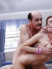 Hot teen Missy Lou gets into a hardcore fuck with an oldman