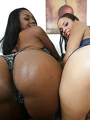 Latin ebony babes Stacey and Vanessa showing their big booties
