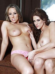 Lesbian MILF coeds Eve Laurence and Carolyn Reese teasing each other