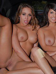 Busty Ella Alyssa and Layla show boobs outdoor and toy each other