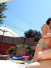 Teen babes Lily and Chelsea stripping off bikini for groupsex