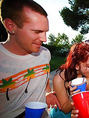 Teen babes Jessie and Cindy getting naked at the party outdoor