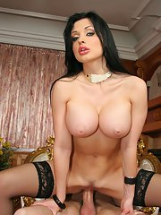Huge tits babe in stockings Aletta Ocean has hardcore with pretty man