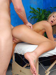 Blond teen gets her pussy and ass massaged before hardcore fucking